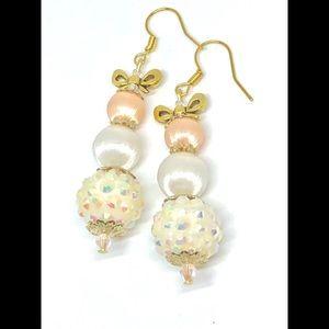 Vintage Peach White Satin Bead Christmas Earrings